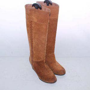 Lucky Brand Camel Suede Mid Calf Wedge Boots 8.5